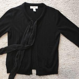 Rafael Black Open Cardigan Sweater Sash Chiffon S